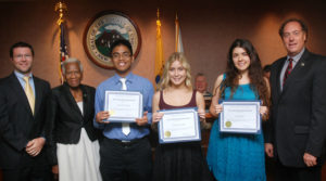 Adrianna Sabat is pictured 4th from the left. Joining her in the picture are (from left to right) NJAC Legislative Director Allen Weston, Union County Freeholder Vernell Wright, Arol Jan Millado and Sol Condo (Investors Bank Scholarship recipients), and Union County Freeholder Chairman Bruce Bergen
