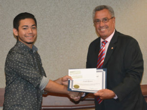 Middlesex County - NJAC Foundation & PSEG Scholarship Award - Fredi Rivera with Freeholder Director Ronald Rios