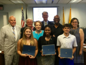 pictured front row - Alex Zaccardi, Marie Toussaint, Kurt Tobie; Freeholders from left to right: Anthony Carabelli, Pasquale Colavita, Chairwoman Ann Cannon, Andrew Koontz, Sam Frisby and Lucylle Walter